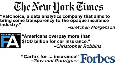 New York Times, Forbes, Financial Advisor Media Coverage of ValChoice Car Insurance Value