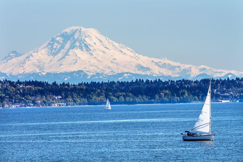 Puget Sound and Mount Ranier, Washington. The image for the Find Insurance Agents in Washington for the ValChoice website