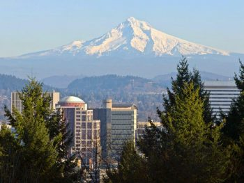Picture of Mt Hood over Portland for the Find Oregon Insurance Agents web page on ValChoice.com.