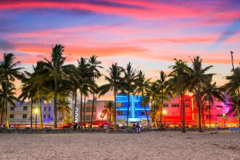 Miami Beach at Sunset. Image for the Find Florida Insurance Agents web page.