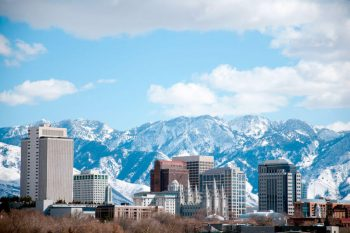 Wasatch Mountains Behind Salt Lake City. Image for Find Utah Insurance Agents webpage on ValChoice.com