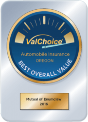 Mutual of Enumclaw was a Best Overall Value for Car Insurance in Oregon, 2016