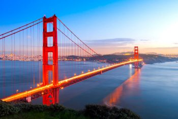 The Golden Gate Bridge with San Francisco in the background for the Find Insurance Agents In California web page.