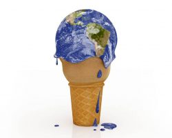 Global climate issues are depicted by this image showing the earth as an ice cream cone melting.