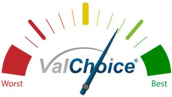 ValChoice fuel-gauge-style image for the minimum score to be an award winning company, a best insurance company