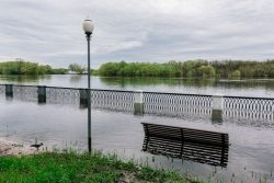 Flooded river as an example of the numerous 100-year flood events