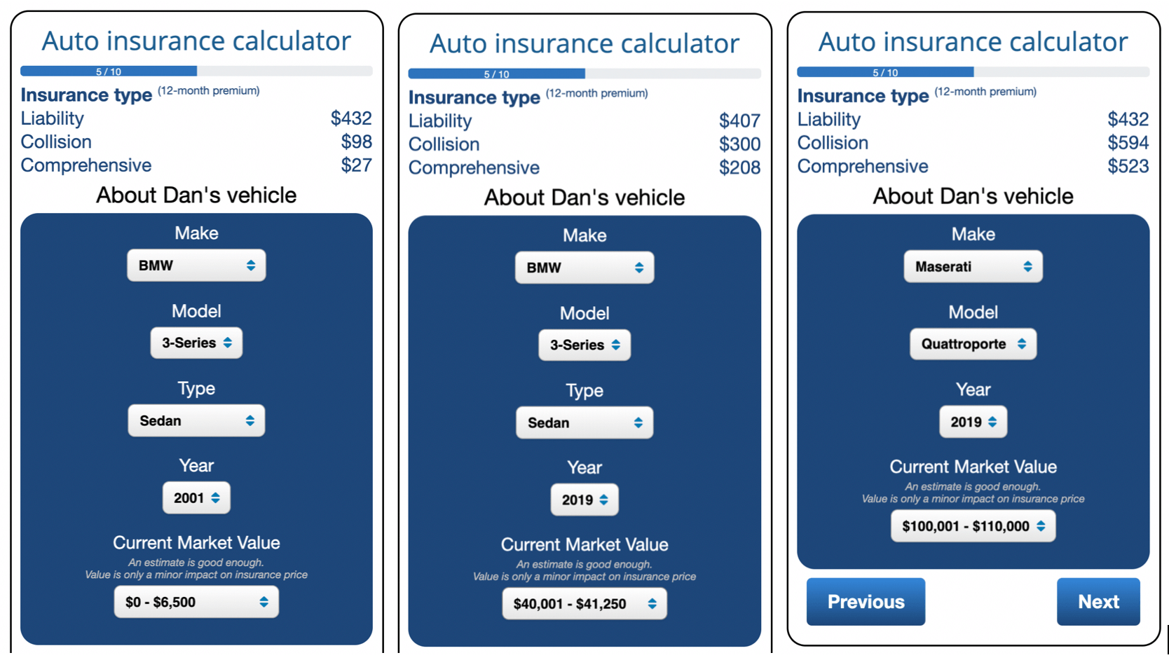 Comparing new car insurance to insurance for an old car. The new cars are a 2019 Maserati Quattroporte and a 2019 BMW 3-Series. The old car was a 2001 BMW 3-series vs. 2019 Maserati Quattroporte