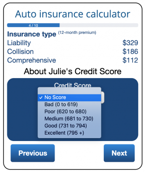 Credit page of ValChoice car insurance calculator showing how credit affects cheap auto insurance prices