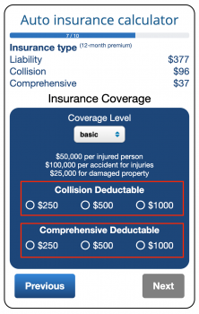 Selecting your insurance deductible level in the car insurance calculator