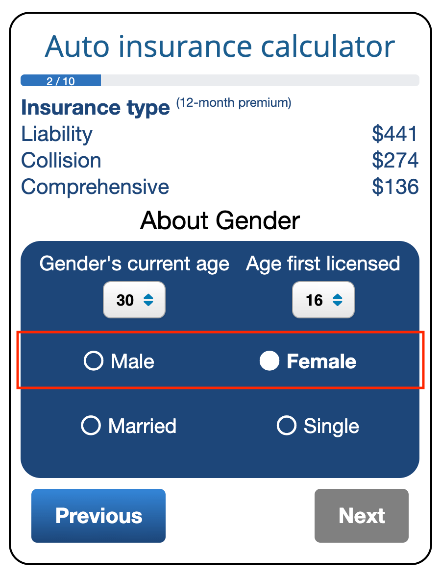 Screenshot of ValChoice car insurance calculator showing how to change the gender selection and see the affect on car insurance quotes.