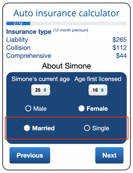 The ValChoice calculator shows the difference in price of cheap car insurance for a married couple vs. single people