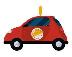 Cartoon image of a pizza delivery vehicle for blog post on how delivery jobs affect car insurance